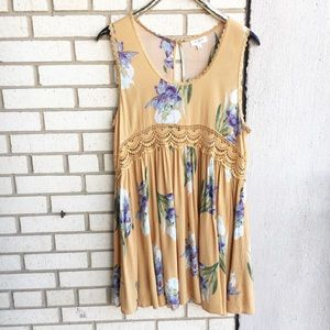 Umgee Boho Babydoll Dress Floral Crochet Cutout L